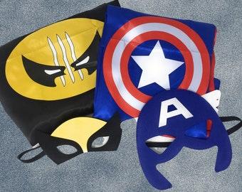 Brand New Kids Marvel Super Hero Cape and Mask Set Captain America