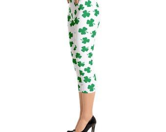 Irish Four Leaf Clover St Patricks Day Capri Leggings