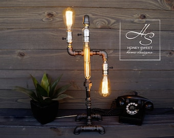 "The ""Oil Rig"" - Edison Industrial Pipe Lamp- Vintage Modern Home and Office Lighting"
