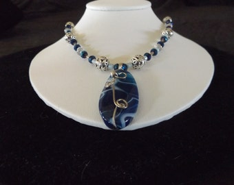 Blue Marble Stone with Scroll Detail Necklace