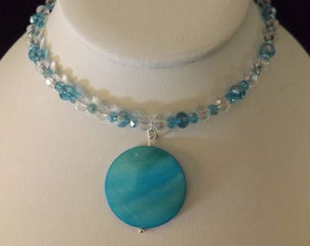 Blue Watercolor Pendant on Beaded Necklace