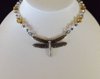 Silver Dragonfly on Beaded Necklace
