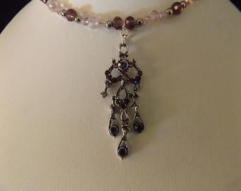 Purple Chandelier Pendant on Beaded Necklace