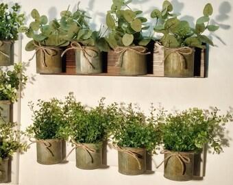Boxwood Decor, Eucalyptus Wall Decor, Rustic Home Decor, Rustic Wall Decor,  Farmhouse Kitchen, Farmhouse Bedroom, Wall Pocket,Wall Mount Pot