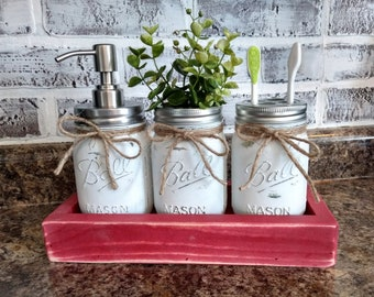 Mason jar bath set, Mason jar soap pump, Rustic bathroom jars, Guest bath decor, Mason jar bath caddy, Toothbrush holder, Rustic bath decor