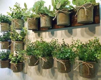 Rustic wall decor, Zinc metal planters, Wall grouping, Rustic home decor, Farmhouse living room, Wall planter, Wall herb garden, greenery
