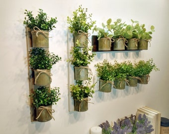 Rustic Wall Decor Zinc Metal Planters Grouping Home Farmhouse Living Room Planter Herb Garden Greenery