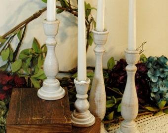 Candlestick set, Farmhouse Candles, Shabby Chic Decor, Housewarming gift, Wood Candle sticks, Birthday gift, Rustic candlestick,Rustic decor