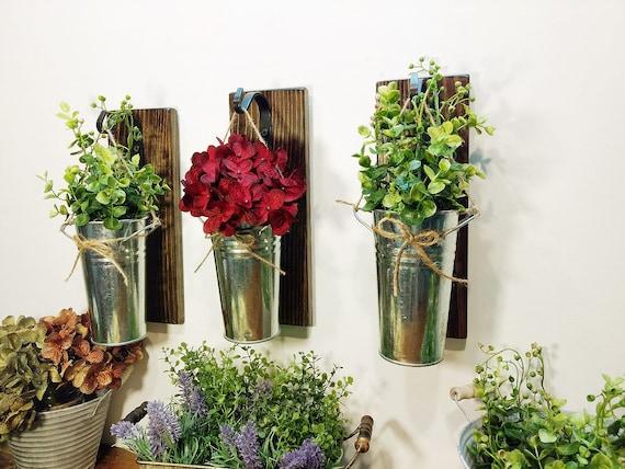 Farmhouse Hanging Galvanized Tin Metal Wall Hanging Vase Flower Holder  Decor