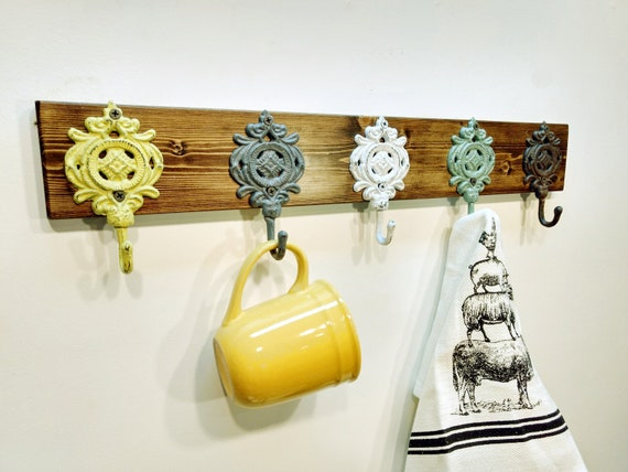 Rustic hook rackBoard with hooks Coat hook board Hook Rack | Etsy