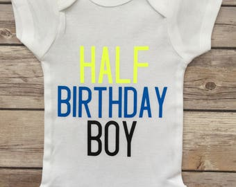 Half Birthday Outfit Shirt 1 2 Onesie Six Month Boy Baby Gift