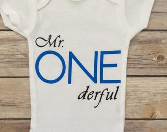 Mr Onderful First Birthday Onesie®, Mr Onderful,  Boy First Birthday Outfit®, 1st Birthday Outfit ®, Baby Boy Birthday Onesie®, Boy Onesie®
