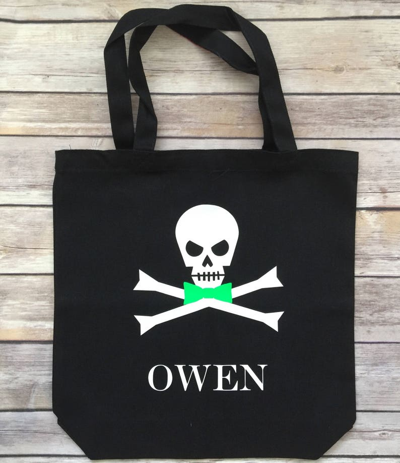 07a3a4899108 Bow Tie Skull Halloween Tote, Candy Bag , Custom Boy Halloween Tote Bag,  Trick or Treat Tote, Halloween Tote, Trick or Treat, Halloween Bag
