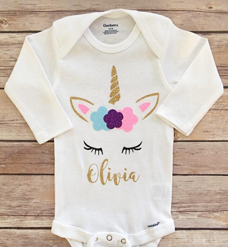 d8294b5eb Custom Unicorn Onesie personalized unicorn outfit first | Etsy
