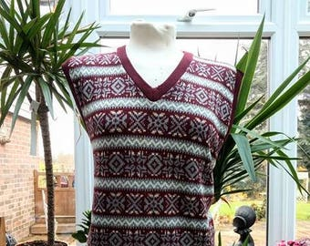 1990's Does 1940's Mens Fair Isle Sweater Vest