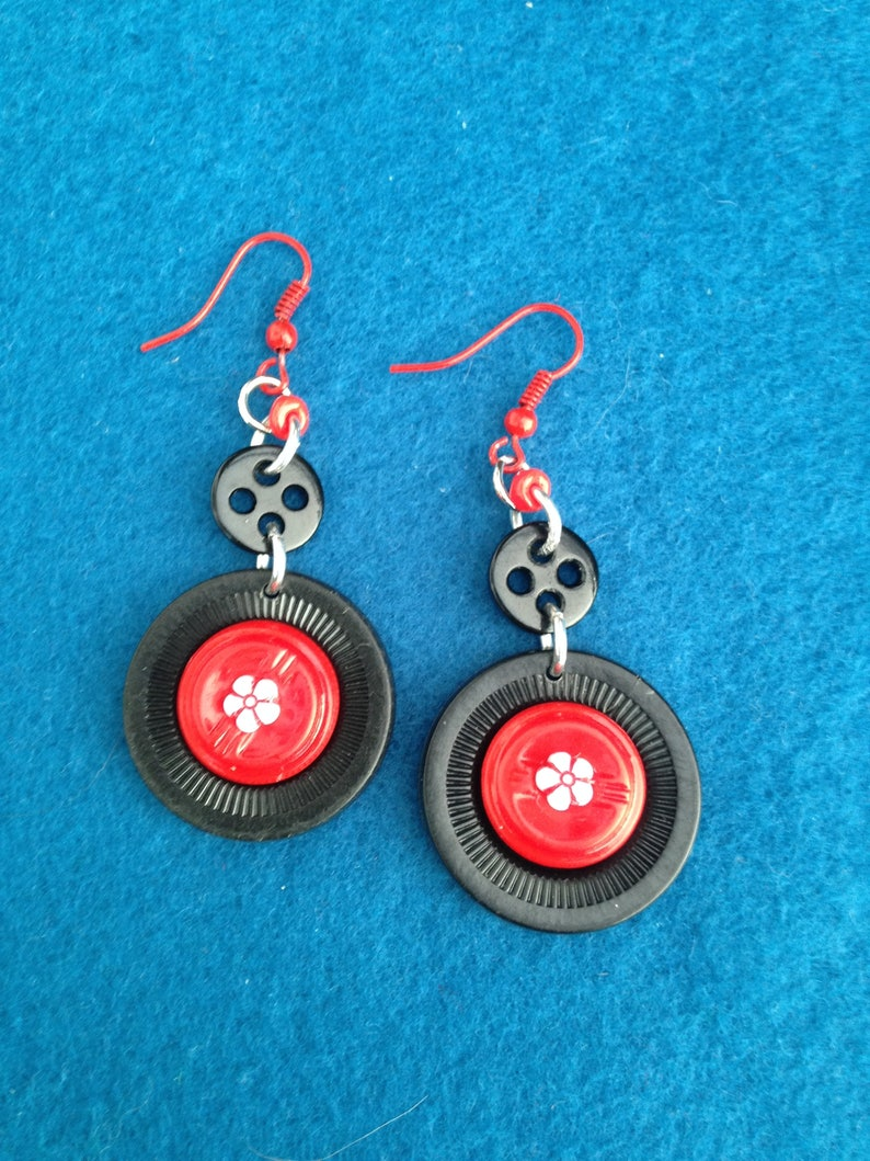 9a6a220e77b12 Fun to Wear 80's Style Black and Red Plastic Button Earrings, Fashionable  and Unique Button Earrings, Dangle and Drop Button Earrings