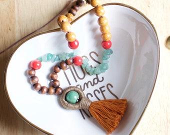 Boho Tassel Aventurine & Riverstone Necklace, Short Chunky Necklace