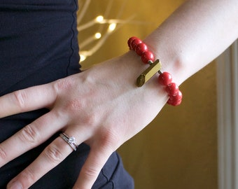 Handmade Bracelet, Gold Luster Nugget & Ceramic Bead, Must have Jewelry, Unique Gift for Woman