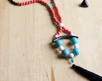 Unique Turquoise Howlite Stone Tassel Necklace, Natural Stone Jewelry, Handmade Gemstone Jewelry