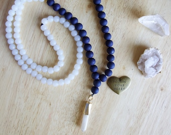 Mala Beads, Peach Quartz Crystal Pendant, Gemstone Necklace, Simple, Blue, Gold, White, Unique Gift for Woman