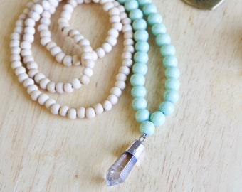 Quartz Crystal Pendant Necklace, Long Wooden Mala Jewelry, Gift for Woman