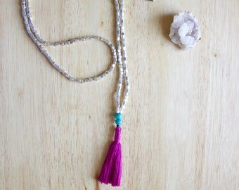 Fuchsia Tassel Necklace, Silver Colored Czech Glass, Minimalist Necklace, Must Have Unique Gift for Woman