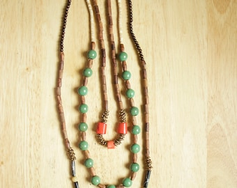 Layered Boho Beaded Necklace Set, 3 in 1 Interchangeable Wooden Jewelry, Gift for Woman