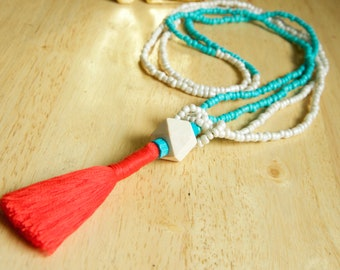 Handmade Colorful Tassel Necklace, Red-Orange & Teal Jewelry, Glass and Wood Beaded Necklace, Unique Gift for Woman