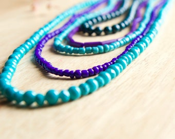 Bright Colored Layered Necklace, Unique Beaded Jewelry, Handmade Jewelry, Gift for Woman
