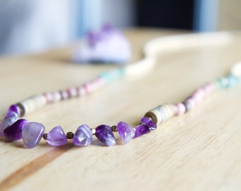 Amethyst, Rhodonite & Aventurine Natural Stone Necklace, Gemstone Jewelry, Minimalist Style, Healing Stone Jewelry, Unique Gift for Woman