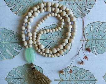 108 Bead Mala Tassel Necklace, Natural Wood, Meditation Jewelry, Gift for Woman