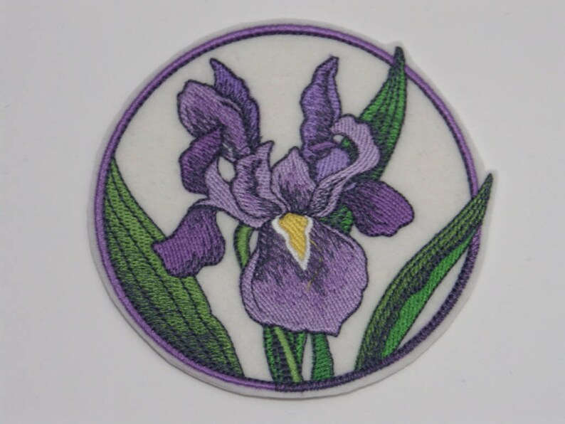Iris Patch Flower Iron-on Patch Embroidered Patch Sew-On Patch Elegant Flower Circle