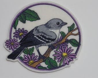 Bird Iron-on Patch. Embroidered Patch. Sew-On Patch. Mockingbird on Purple Aster Patch