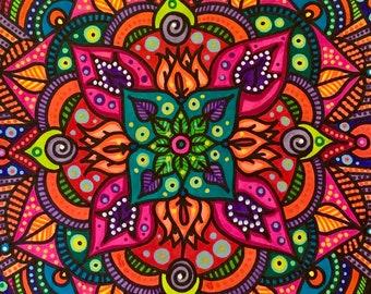 "Freehand Mandala art, hand drawn mandala, freehand mandala, custom art, unique mandala, one of a kind handmade, 8x10"" art, handmade art"