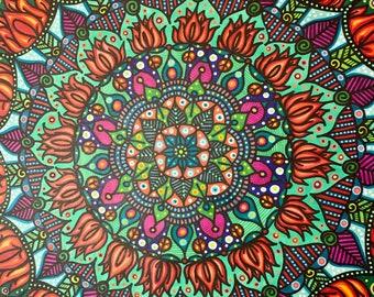 "Freehand Mandala art, hand drawn mandala, freehand mandala, custom art, unique mandala, one of a kind handmade, 22x28"""