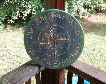 """18"""" Round Custom Stained May The Four Winds Blow You Safely Home Sign"""