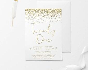 White Gold Printable Birthday Invitation Custom 30th 21st 18th DIY
