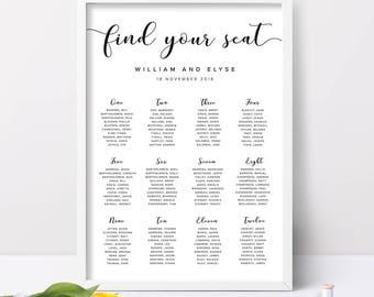 printable wedding seating chart simple wedding seating chart etsy