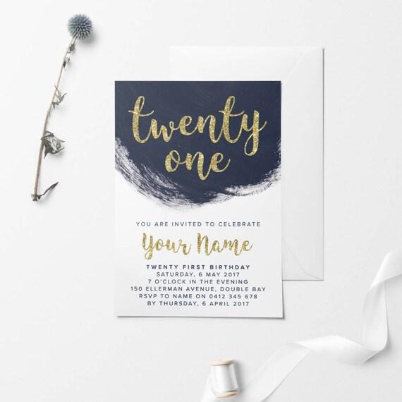 Gold Printable Birthday Invitation Custom