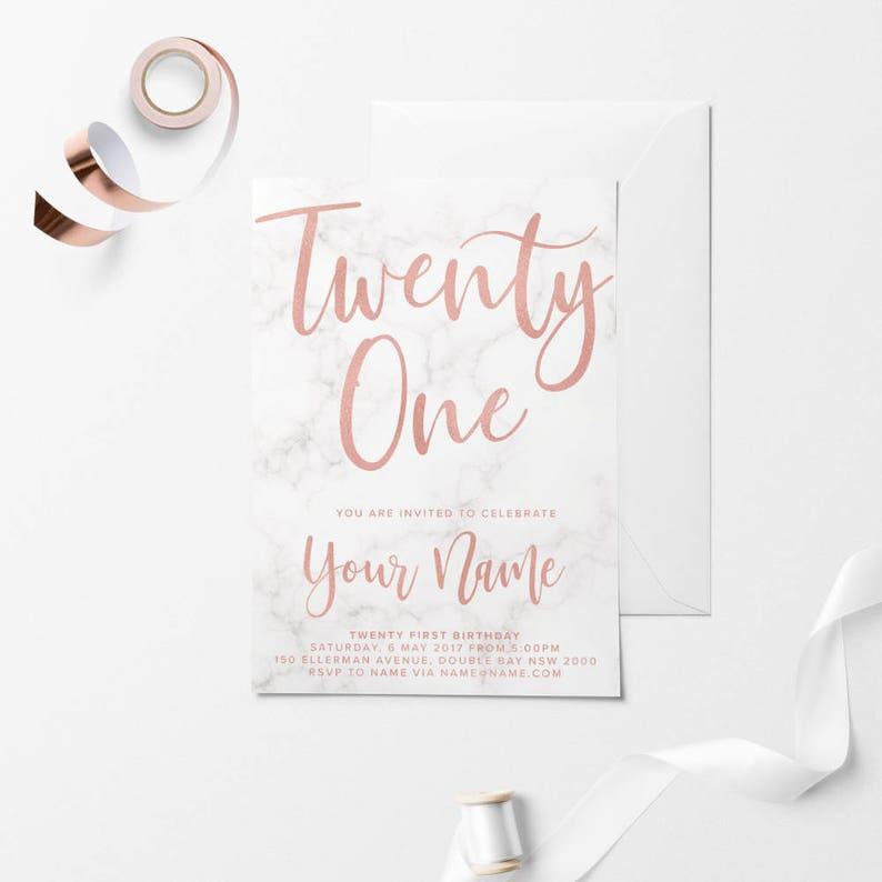 Rose Gold Printable Birthday Invitation Custom