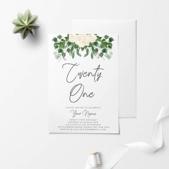Floral Printable Birthday Invitation Custom