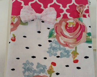 Planner Zipper Pouch- Hot Pink w/Flowers