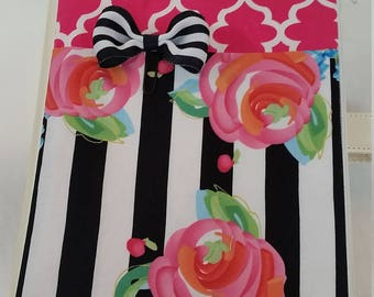 Planner Zipper Pouch -Hot Pink w/Flowers and stripes