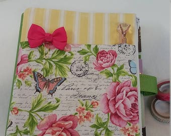 Planner Zipper Pouch - Yellow stripes w/Flowers