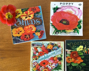 Vintage Flower Seed Coasters - Seed Label Stone Coasters, set of 4