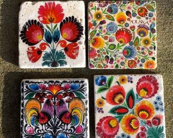Polska Folk Art Tiles- Polish Folk Art, stone coasters, set of 4