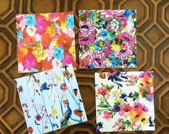 Wild Flower Stone Coasters,  set of 4