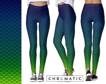 Mermaid Pattern Printed Leggings | Women's Leggings | Ankle or Capri Length