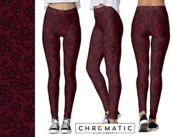 Wine Burgundy Red Lace Pattern Printed Leggings | Women's Leggings | Ankle or Capri Length