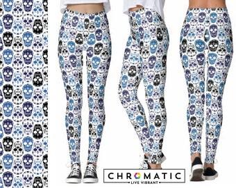 Blue Sugar Skulls Pattern Printed Leggings | Women's Leggings | Ankle or Capri Length